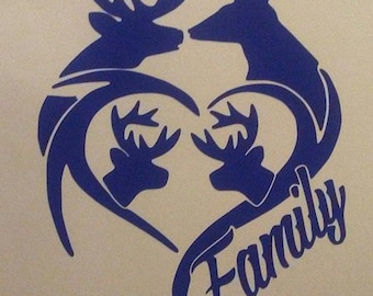 Deer Family with Heart Vinyl Decal #1-002