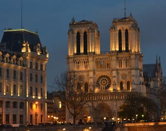Notre Dame cathedral, Paris at night.