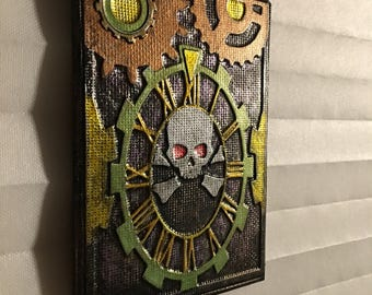 Steampunk Owl Art - Embossed Metal Wall Art - Embossed Owl Art - Handmade Embossed Metal Art - Metal Owl Art Embossed Steampunk Art