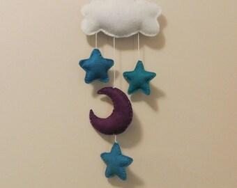 Cloud Moon Stars Baby Mobile