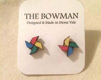Wooden pinwheel earrings, geometric, laser cut