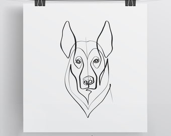 German Shepherd Dog Portrait - Limited Edition Print - One Line Drawing - Pet Art - Shepherd Print - German Shepherd Art - Minimalist Dog