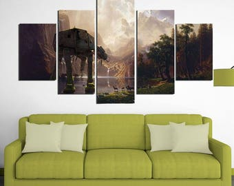 AT-AT - 5 Piece Canvas Wall Art | Star Wars Wall Art | Painting | Poster | Print | Mural | Decal | Artwork | Home Decor