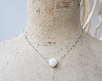 925 sterling silver necklace - white resin - elegant necklace