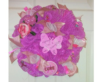 Cure Breast Cancer Support Wreath