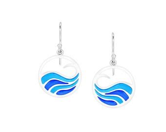Handmade Earrings Blue Waves Silver Earrings Nature Inspiration Silver 925 Creative Earrings Summer Jewelry Sterling Silver Earrings