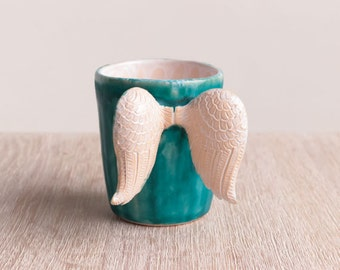 Ceramic coffee mug, pottery wings, stoneware, drinkware, modern, wings mug, coffee mug, modern ceramic mug, ceramic cup, teacup, tea cup