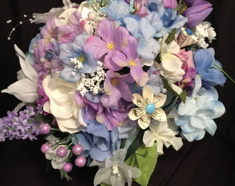 Bridal / Bridesmaid One of a Kind Wedding Bouquet - Silk & Paper Flowers