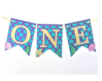 Mermaid Banner, Mermaid Birthday Banner, Mermaid High Chair Banner, Mermaid Party Decorations, Mermaid Party Banner, Mermaid Birthday Party