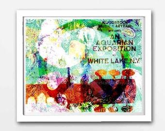 Woodstock Art, Hippie Art, Peace Sign, Peace Art, Woodstock Prints, Original Hippie Painting, Mixed Media Art, Dorm, 60s Art, Music Festival