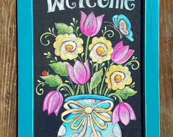 Laurie Furnell, Laurie Furnell Originals, Painted Window Screens, Front Porch Decor,  Whimsical Flower Art, Acrylic Painting