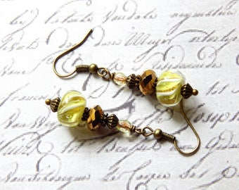 Lampwork Glass Earrings - Lime Green, White and Gold Lampwork Glass Earrings - Dangle Earrings