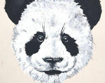 Original  Painting Art Panda Modern Art Black And White Vintage Decor Drawing Gift Wild, 13.37'' x 9.27''