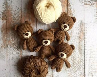 Crochet bear/Amigurumi animals/Baby shower gift/Plush bear/Stuffed bear toy/Nursery decor/Knitted bear/Soft cotton toy/Kids room decoration