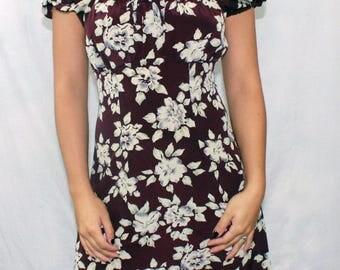 """Vintage """"Brentwood"""" Burgundy Floral Dress"""