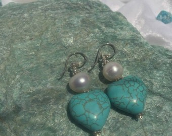 Fresh Water White Pearl & Heart Shaped Turquoise Earrings