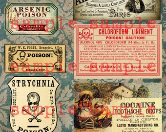 COLLAGE SHEET instant Digital Download Antique Poison Pharmacy Labels - Gothic Victorian Apothecary COLLAGE sheet Witch potion labels