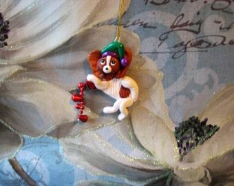 Papillon dog Ornament, the decorator, handmade,  clay, Christmas, OOAK, gift, keepsake, pawsnclaws