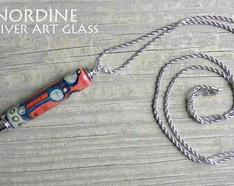 Handmade Art Glass Reversible Seam Ripper Necklace . Abstract . Orange Purple . Lampwork . Julie Nordine . Credit River Art Glass . SR114