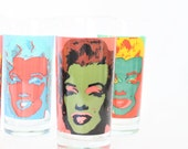 Vintage High Ball Andy Warhol Glasses Marilyn Monroe Pop Art Drinking Gasses Trio, Pop Art Glasses, Marilyn Monroe Collectibles, Warhol Art