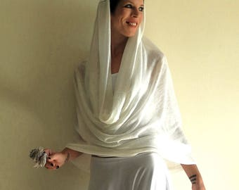white infinity scarf, wedding linen shawl, bridal shawl, linen jersey