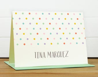 Personalized Stationery Set / Personalized Stationary Set - DOTTIE Custom Personalized Note Card Set - Rainbow Polka Dot