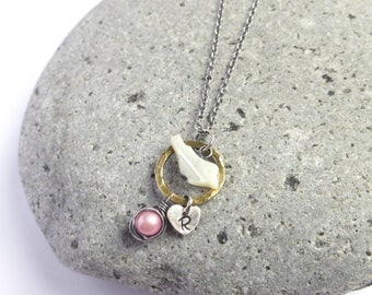 Pink Pearl Egg Nest Mommy Bird Initial Necklace, Baby Girl Personalized Jewelry