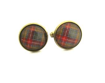 Scottish Tartan Jewelry - Ancient Romance Series - Buchanan Old Sett Buchanan Weathered Tartan 16mm Cuff Links