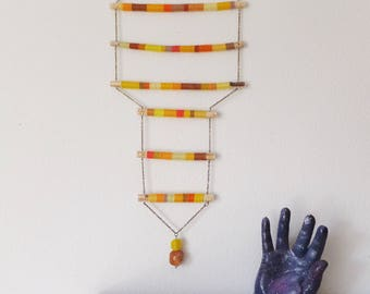 Yellow & Orange Modern Folk Art Wall Hanging Textile Wall Decor Bohemian Eclectic Modern Decor Chestplate Sculpture Hanging Textile