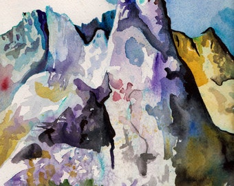 Some Rocks - Watercolor and Ink Painting of Cirque of the Towers in Wyoming - Original Landscape Art on Paper by Jen Tracy