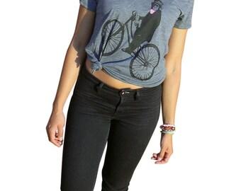 Womens TShirt, Monkey on Bicycle in Scoop Neck Grey