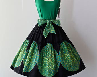 Vintage 1950's Cotton Border Print Skirt With Mosaic Tile Print ~ Vintage 50s Novelty Print Full Gathered Skirt