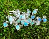 Fire opal studs   Natural opal earrings   Opal post earrings   Opal in silver earrings   Birthstone stud earrings