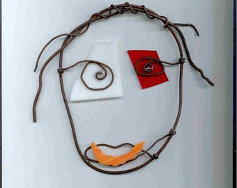 Rusty Wire & Stained Glass Face Outsider Art by William Washburn