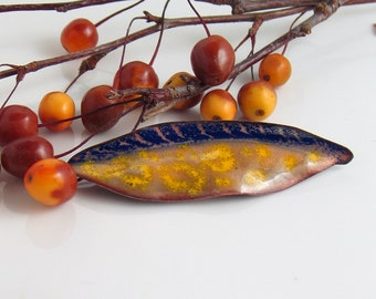 Blue and Yellow Art Pin, Enameled Copper Leaf Brooch, Copper Enamel Lapel Pin, Flora Series by WillOaks Studio, Ready to Mail