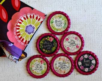 Bible Verses for Her- Floral Bible Verse Bottlecap Magnets- Spiritual Inspiration- Floral Scriptures- Christian Gift, Bible Gift- Set of 6
