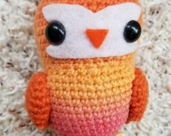 Ombre Orange Fire Tea Owl Crochet Amigurumi Wool Doll