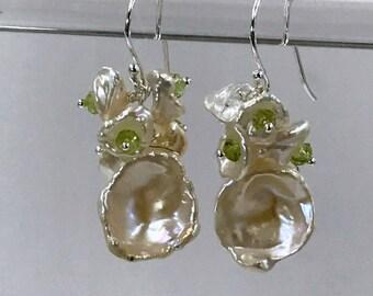 Keishi Pearl Earrings Keishi Pearl Cluster Sterling Silver Peridot Gemstone Cluster Green Gemstone Pearl Earrings Bridesmaid Earrings August