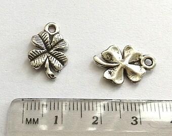 10 Four Leaf Clover Charms, Four Leaf Clover charm, Four leaf clover pendant, small four leaf clover, antique silver tone metal