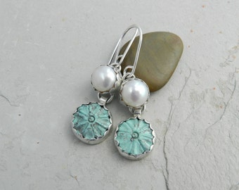 Sterling, Carved Turquoise and  Creamy White Pearl Earrings~Feminine-Artisan Metalsmith~Minimalist
