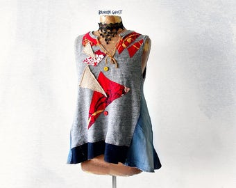 Rustic Tunic Top Patchwork Clothes Recycled Clothing Women Denim Shirt Deconstructed Tshirt Funky Festival Wear Artsy Smock Top L 'SHANNON