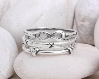 Infinity Heart Cross Ring with Stackable Sterling Silver Bands. Perfect Gift Ring Set. Best Friends Rings