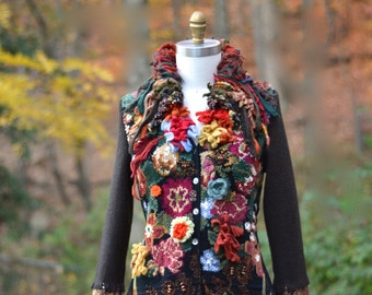 Reserved for Nancy.Floral sweater COAT, fantasy art to wear, refashioned clothing, up cycled sweaters, Woodland style, mori