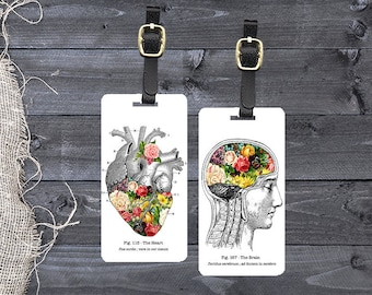 Personalized Luggage Tags Spring in My Heart and Brain Floral Vintage Medical Chart Tags - Single Tag or Set Available