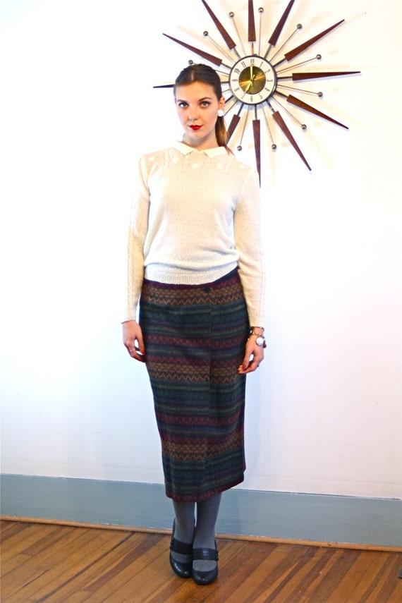 80s BONJOUR Skirt, Long Straight Skirt, Geometric 80s skirt, Colorful Tribal Pattern, High Waisted Skirt, 1980s Knit Wrap Skirt