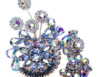 Weiss Blue Floral Spray Brooch with Clip Earrings