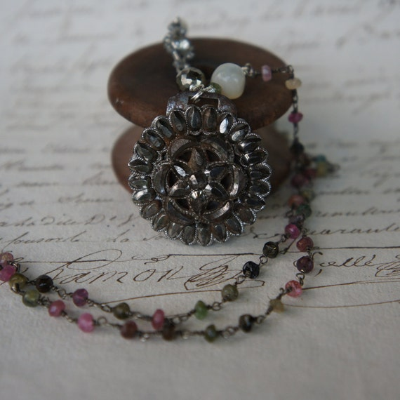 Antique Assemblage Vintage Revival Necklace with Georgian Cut Steel Buckle, Multi Tourmaline and Silver Hand Hook Clasp