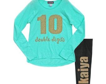 10th Birthday Shirt, Girls 10 Double Digits, Personalized Leggings, Name Leggings, Birthday Number Shirt, Tenth Birthday