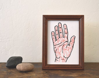 "minimal chic art: ""veins of the hand,"" original hand-embellished monoprint"