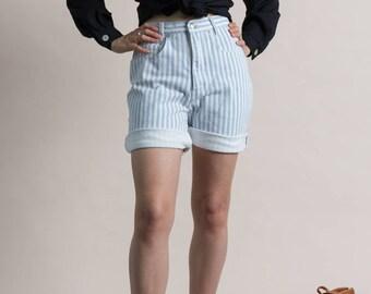 Vintage 80s Striped Shorts / High Waist Denim Shorts / XS 2